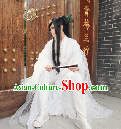 Pure White Chinese Kimono Costumes Asian Fashion Complete Set