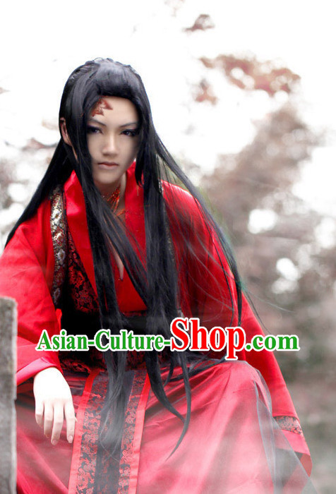 Red Chinese Bridegroom Costumes Asian Fashion Complete Set for Men