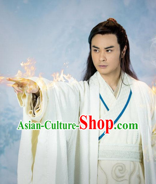 Asian Fashion Chinese Pure White Hanfu Clothing Complete Set