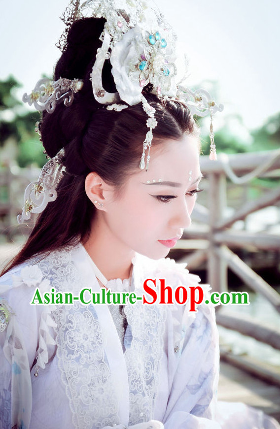Asian Fashion Chinese Empress Halloween Costumes and Hair Jewelry Complete Set for Women