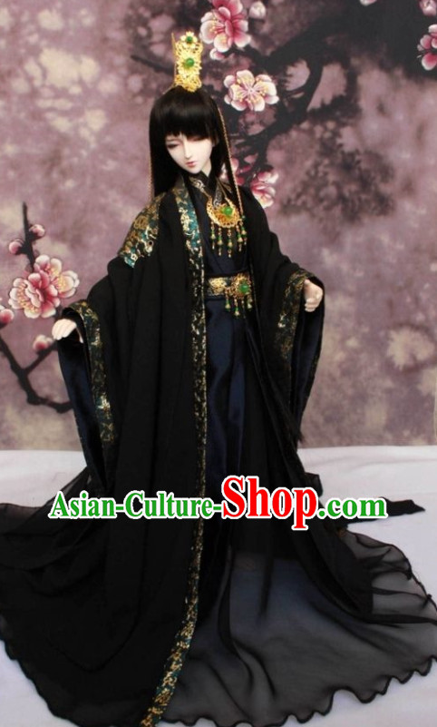 Asian Fashion Chinese Emperor Costume Hanfu and Crown Complete Set for Men