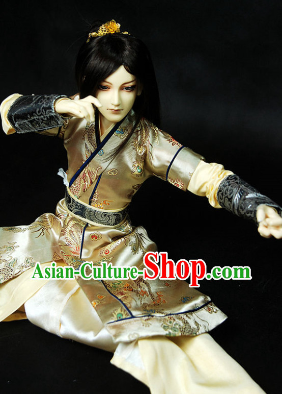 Asian Fashion Chinese Kung Fu Master Costume Hanfu Complete Set for Men