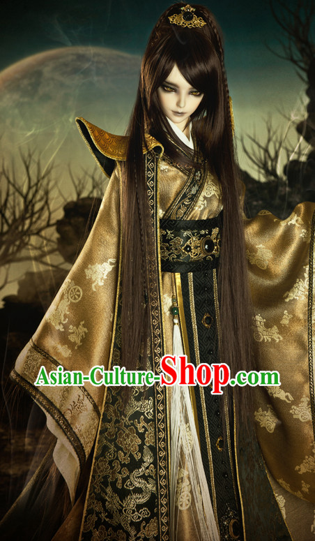 Asian Fashion Chinese Emperor Costumes Hanfu Dresses Complete Set for Men
