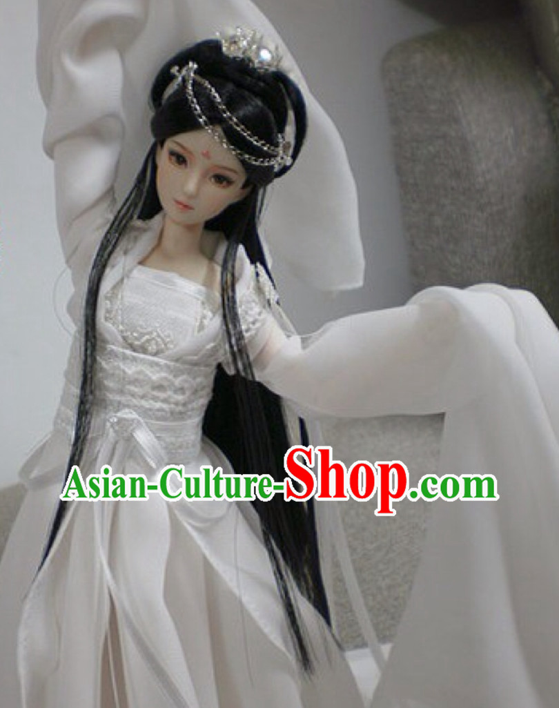 Asia Fashion China Civilization Chinese White Fairy Costumes Hanfu Dresses Complete Set for Women