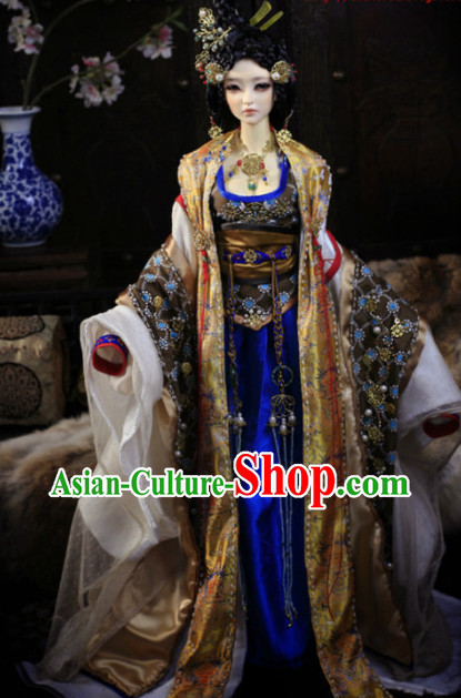 Asia Fashion China Civilization Chinese Empress Costumes and Hair Jewelry Complete Set for Women