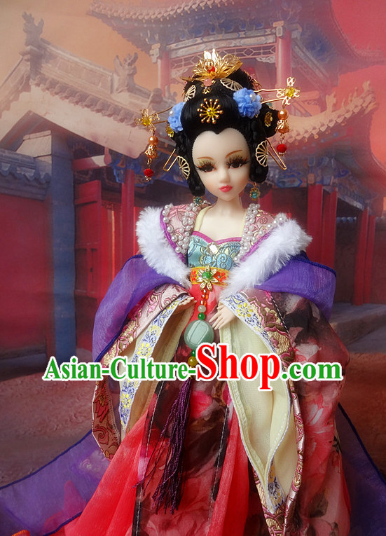 Asia Fashion China Civilization Chinese Empress Costume and Hair Jewelry Complete Set