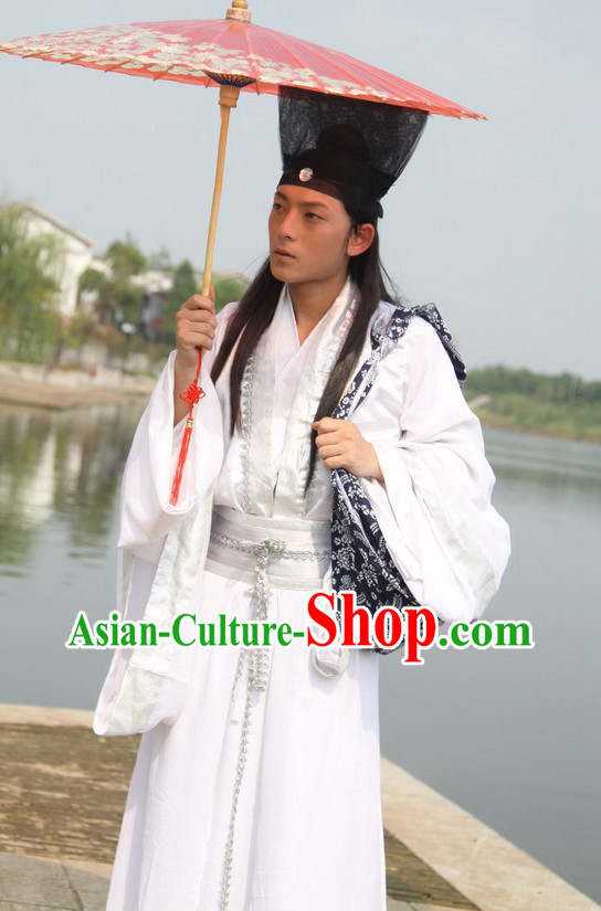 Asian Fashion Chinese White Scholar Student Costumes for Men