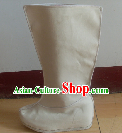 Handmade Asian Chinese Traditional White Boots online Fabric Boots
