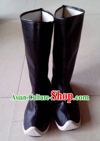 Handmade Asian Chinese Traditional Black Feather Boots online Ancient Hanfu Boots