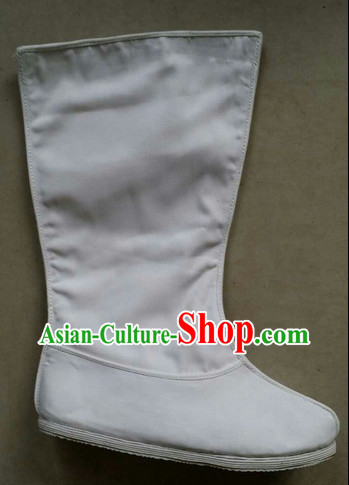 Handmade Asian Chinese Traditional Pure White Hanfu Boots online Ancient Boots