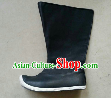 Handmade Chinese Traditional Hanfu High Toe Black Fabric Boots Footwear