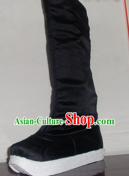 Handmade Chinese Traditional Black Hanfu Fabric Official Boots Footwear