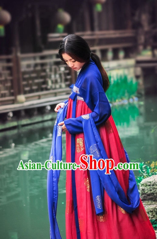 Asian Fashion Oriental Dresses Chinese Hanfu Plus Size Classy Garment Complete Set