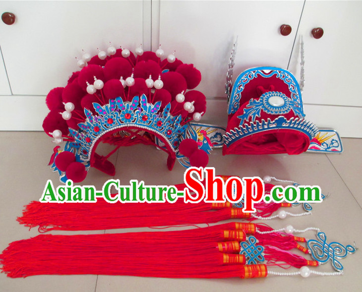 Chinese red wedding phoenix crown and groom hat