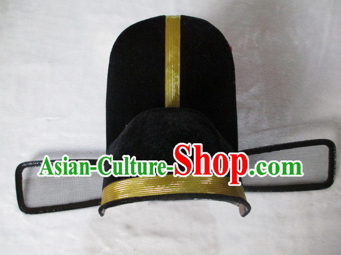 Black Chinese Government Official Hat for Men