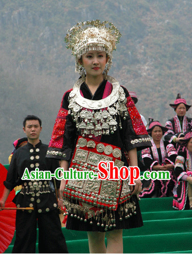 China Miao Tribe Clothing Silver Hat Necklace Complete Set