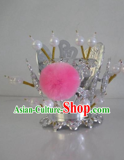 Silver Color Oriental Stage Performance Peking Opera Prince Kids Hat
