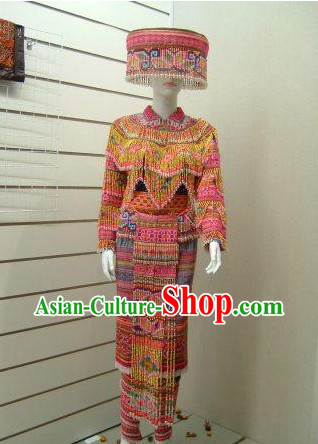 Chinese Traditional Miao Tribe Minority Clothing and Hat Complete Set