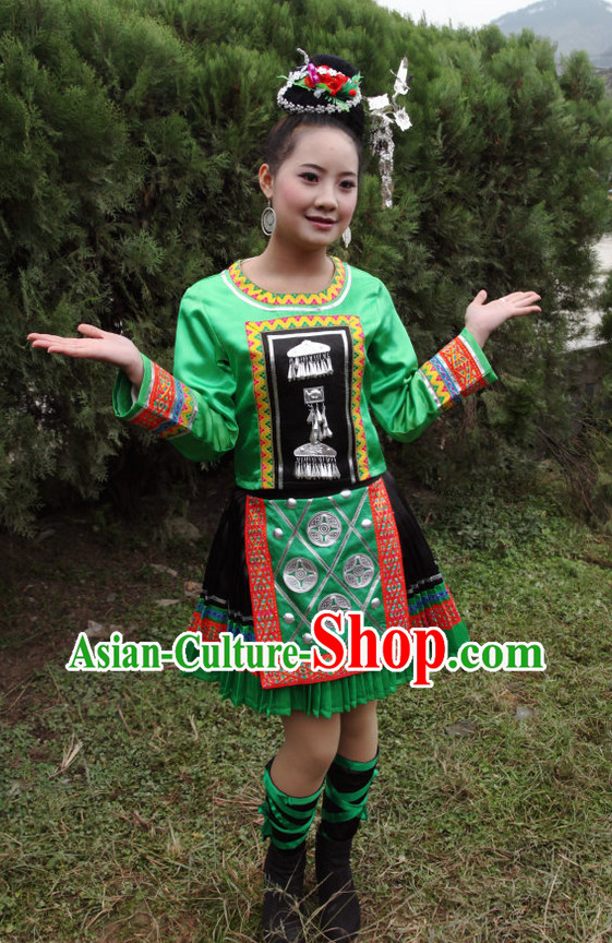 Chinese Professional Ethnic Clothing and Headwear Complete Set for Women