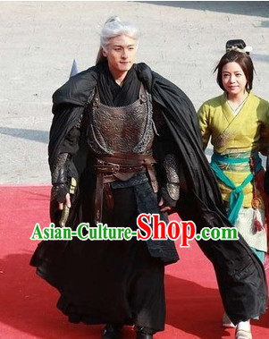 Chinese Traditional General Black Armor Costumes Complete Set for Men