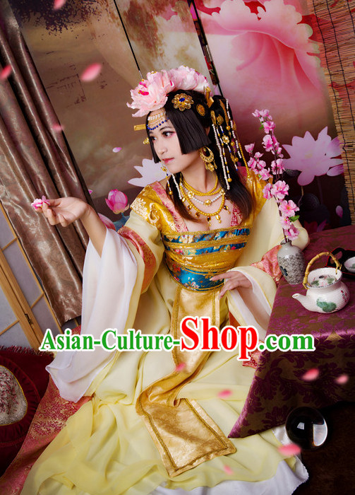 Oriental Clothing Chinese Princess Halloween Cosplay Costumes and Headdress Complete Set