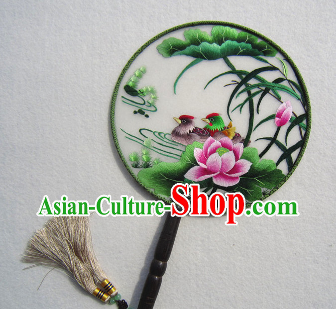 Chinese Traditional Hand Made and Embroidered Palace Lotus Mandarin Fan Arts