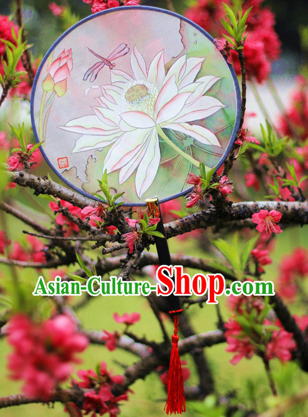 Chinese Traditional Hands Painted Silk Lotus Fan