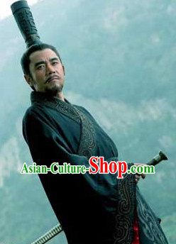 Chinese Ancient Scholar Long Black Hat and Wig for Men
