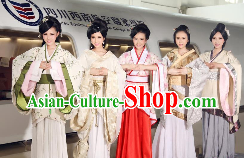 Asian Chinese Traditional Ladies Hanfu Clothes 5 Sets