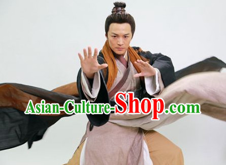 Chinese Superhero Guo Jing Mandarin Costumes Complete Set for Men