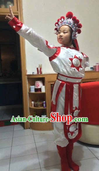 Chinese Hua Mudan Kids Dance Costumes and Hat