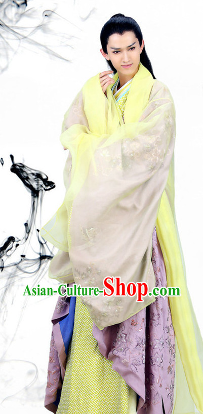 Chinese Handsome Man Hanfu Traditional Dress Complete Set