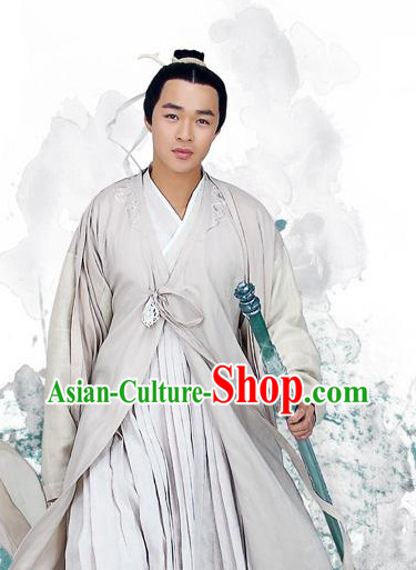 Chinese Swordman Costumes and Headbands Complete Set for Men