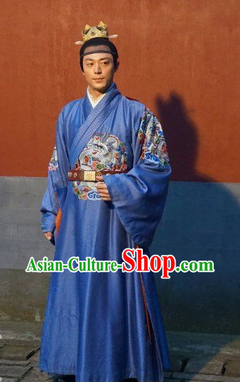 Chinese Traditional Emperor Costume and Crown Complete Set for Men