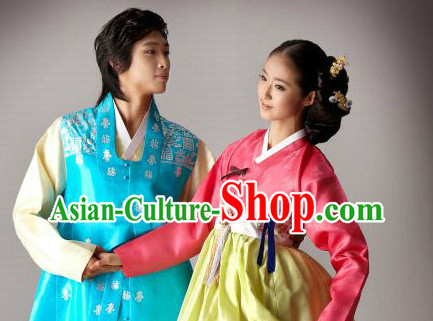 Traditional Korean Custom Made Special Day Customized Hanbok Costumes Complete Set for Couple