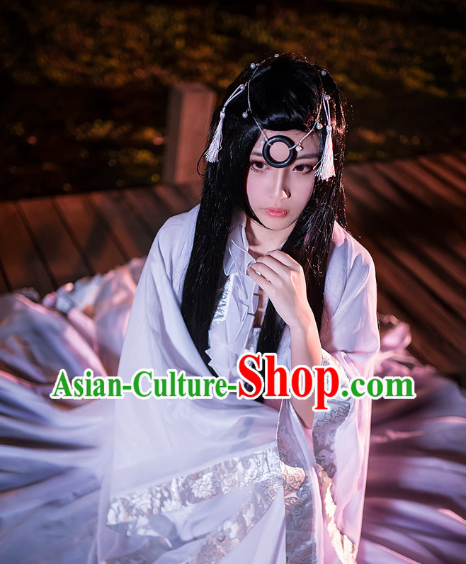 Chinese White Hanfu Costumes Asia Fashion Ancient China Culture and Hair Accessories Complete Set