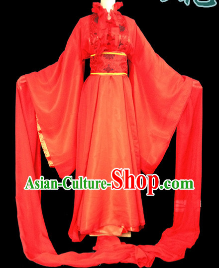 Chinese Red Water Sleeve Carnival Costumes Asia Fashion Ancient China Culture for Women