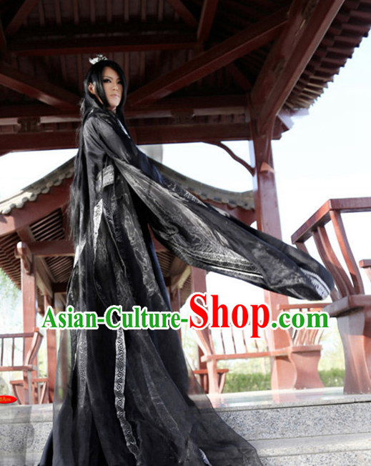 Asia Fashion Ancient China Culture Chinese Black Male Kimono Dress