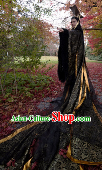 Asia Fashion Ancient China Culture Chinese Black Emperor Kimono Dress and Hat