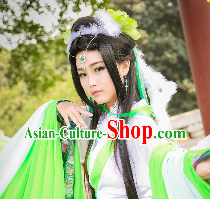 Asia Fashion Ancient China Culture Chinese Hanfu Dresses and Hair Jewelry