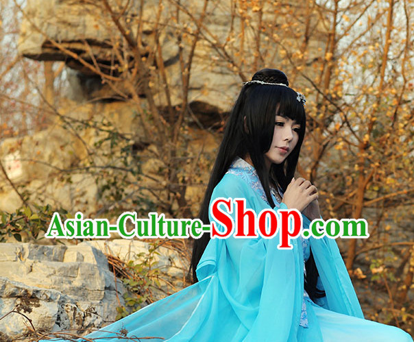 Asia Fashion Ancient China Culture Chinese Traditional Blue Clothing for Women