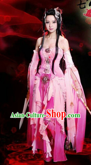 Asia Fashion Ancient China Culture Chinese Swordwoman Costumes and Hair Accessories Complete Set