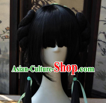 Asian Traditional Chinese Wigs Cosplay Wigs Ancient Costume Wigs Hair Pieces for Girls