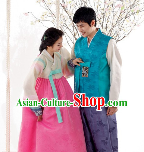 Traditional Korean Custom Made Couple Hanbok Costumes Complete Set