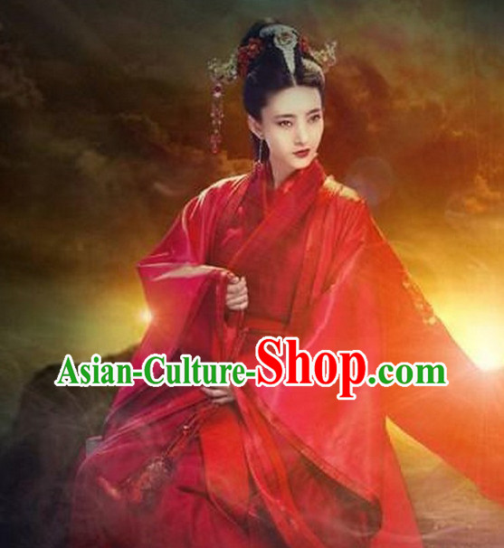 Chinese Red Hanfu Empress Dress and Hair Jewelry Complete Set
