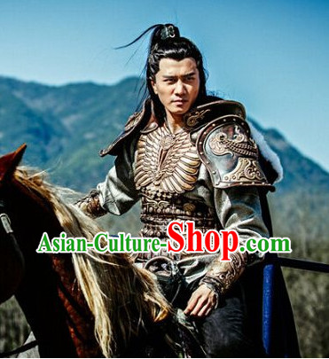 Chinese Ancient General Armor Clothing and Headwear Complete Set