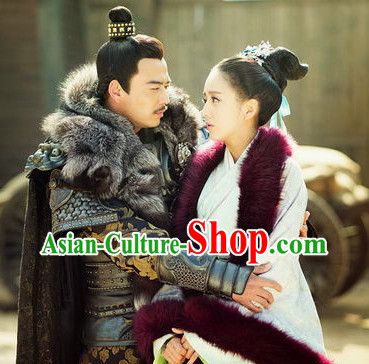 Chinese Halloween Cosplay Prince Costumes and Hair Accessories