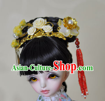 Chinese Traditional Princess Black Wig and Hair Accessories Hairpin Hair Jewelry