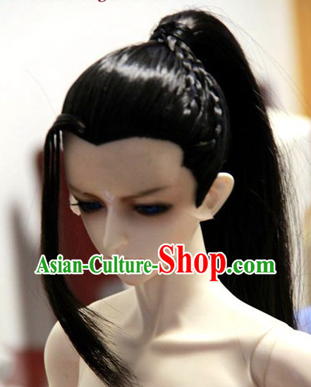 Black Chinese Traditional Costumes Long Wig