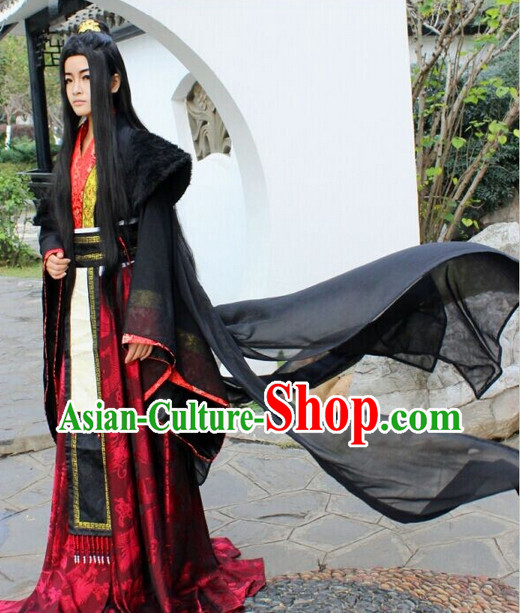 Asia Fashion Chinese Black Kung Fu Master Hanfu Costumes and Long Wig